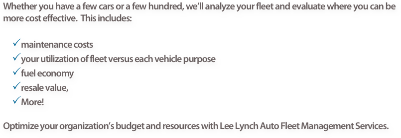 Whether you have a few cars or a few hundred, we'll analyze your fleet and evaluate where you can be more cost effective.  This includes: